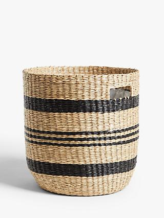 John Lewis & Partners Black Stripe Seagrass Planter