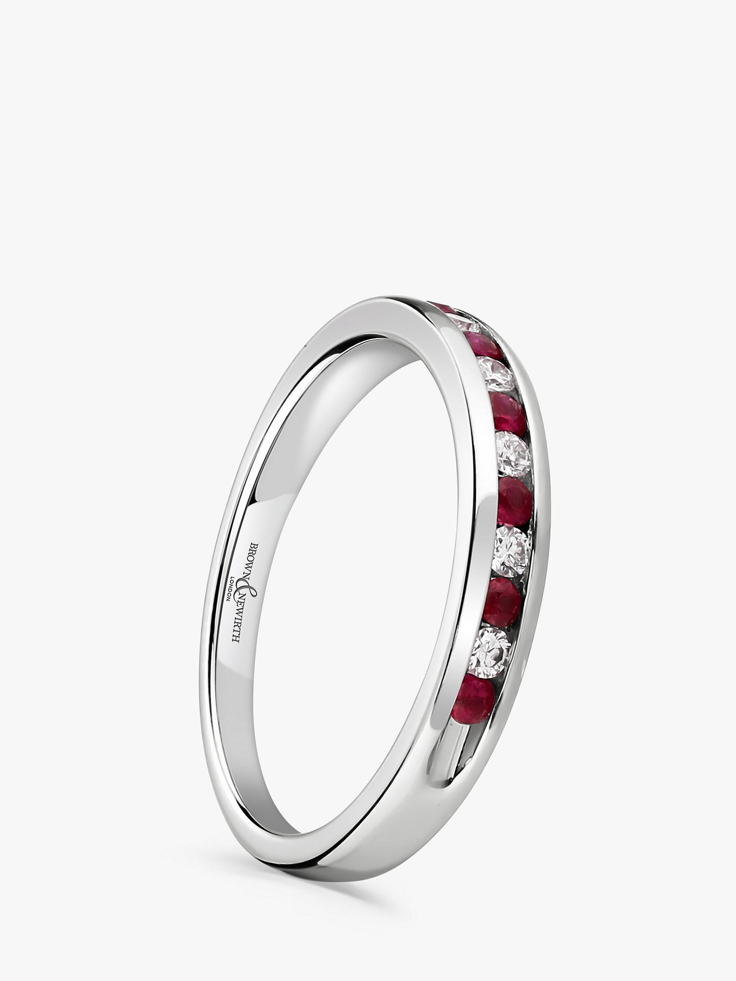 BuyBrown & Newirth 18ct White Gold Ruby and Diamond Half Eternity Ring, 0.20ct Online at johnlewis.com