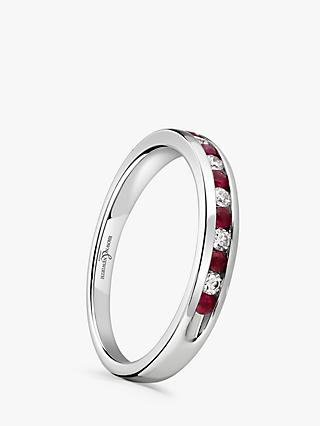 Brown & Newirth 18ct White Gold Ruby and Diamond Half Eternity Ring, 0.20ct