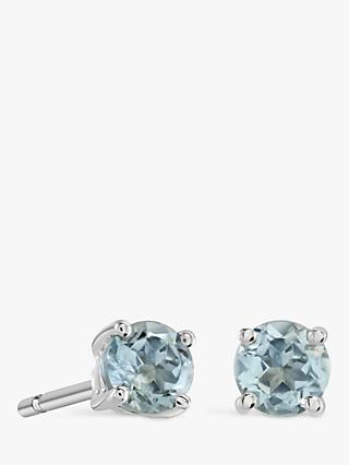 864c56db0 Brown & Newirth 9ct White Gold Aquamarine Round Stud Earrings