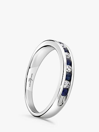 Brown & Newirth 18ct White Gold Sapphire and Diamond Half Eternity Ring, 0.33ct