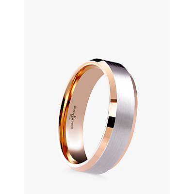 Image of Brown & Newirth Men's 9ct Rose Gold and Palladium 6mm Polished Wedding Ring