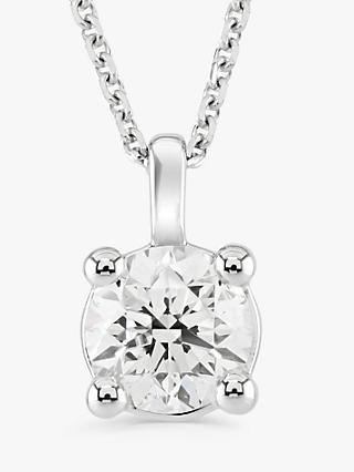 Brown & Newirth 18ct White Gold Diamond Round Pendant Necklace, 0.50ct