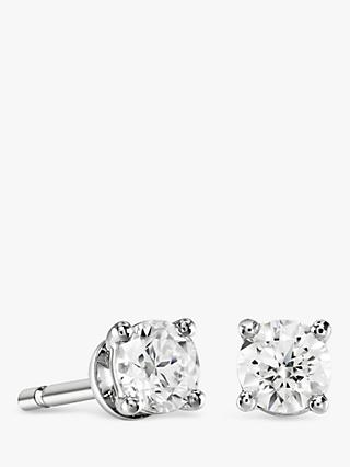 Brown & Newirth 18ct White Gold Diamond Round Stud Earrings, 0.50ct