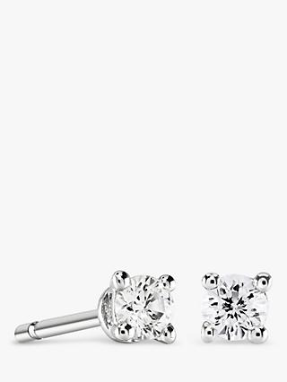 Brown & Newirth 9ct White Gold Diamond Round Stud Earrings, 0.15ct