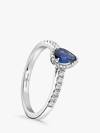 Brown & Newirth 18ct White Gold Pear Cut Sapphire and Diamond Shoulder Engagement Ring, 0.72ct