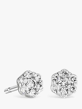 Brown Newirth 9ct White Gold Diamond Flower Stud Earrings