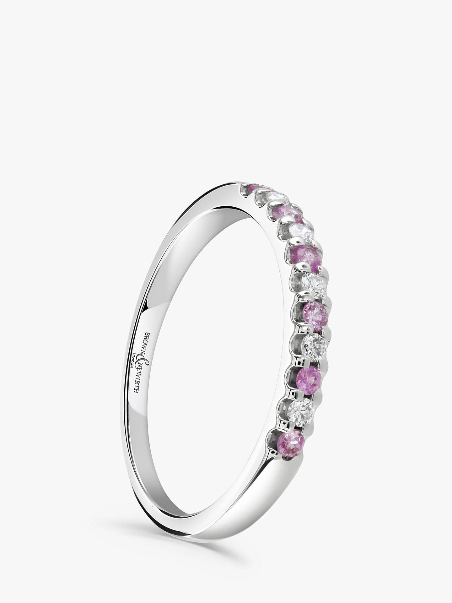 Buy Brown & Newirth 18ct White Gold Pink Sapphire and Diamond Half Eternity Ring, 0.20ct Online at johnlewis.com