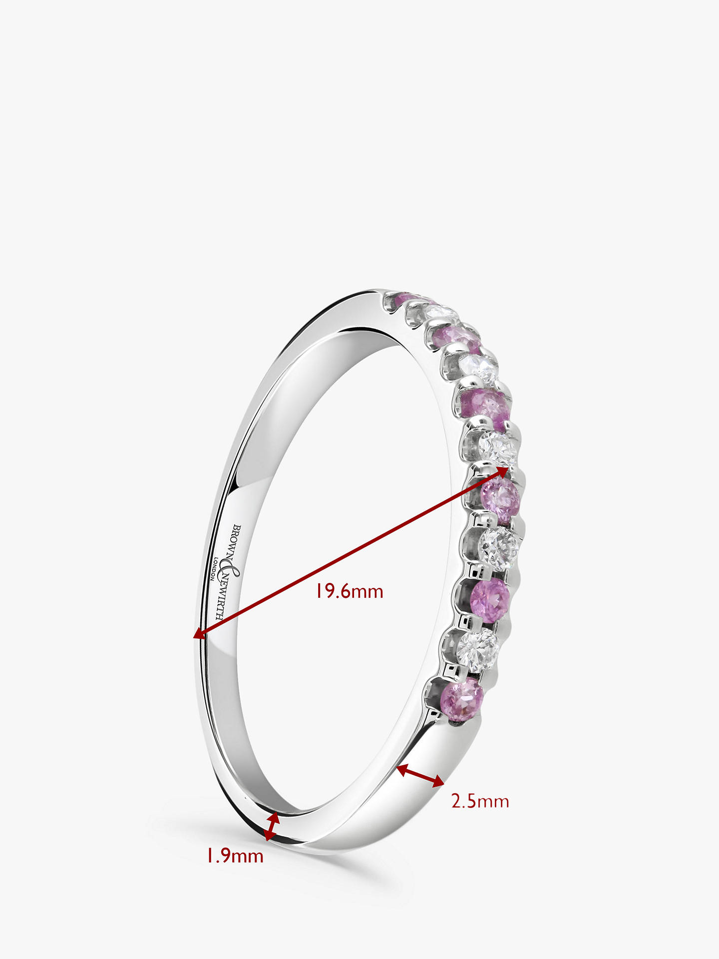 BuyBrown & Newirth 18ct White Gold Pink Sapphire and Diamond Half Eternity Ring, 0.20ct Online at johnlewis.com