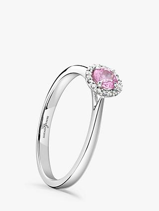 Brown & Newirth 18ct White Gold Round Pink Sapphire and Diamond Cluster Engagement Ring, 0.28ct