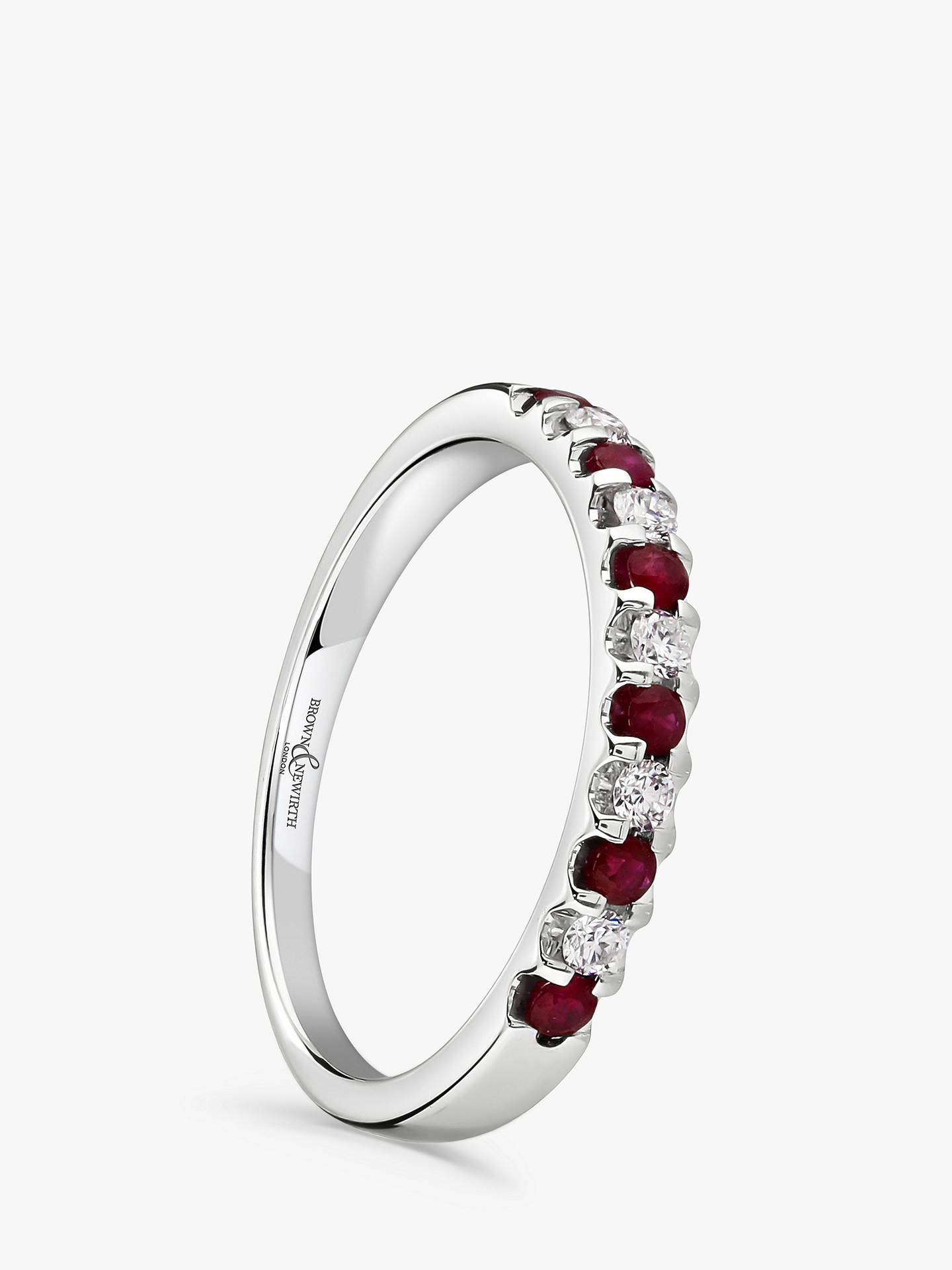 Buy Brown & Newirth 18ct White Gold Ruby and Diamond Half Eternity Ring, 0.33ct Online at johnlewis.com