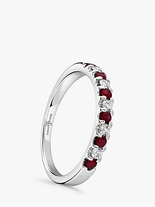 Brown & Newirth 18ct White Gold Ruby and Diamond Half Eternity Ring, 0.33ct