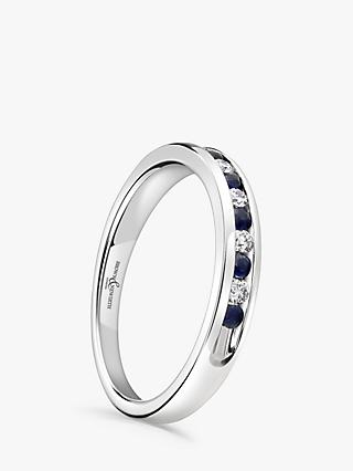 Brown & Newirth 18ct White Gold Sapphire and Diamond Half Eternity Ring, 0.22ct