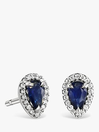 Brown & Newirth 9ct White Gold Sapphire and Diamond Teardrop Stud Earrings, 0.39ct