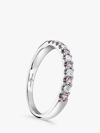Brown & Newirth 18ct White Gold Pink Sapphire and Diamond Half Eternity Ring, 0.33ct
