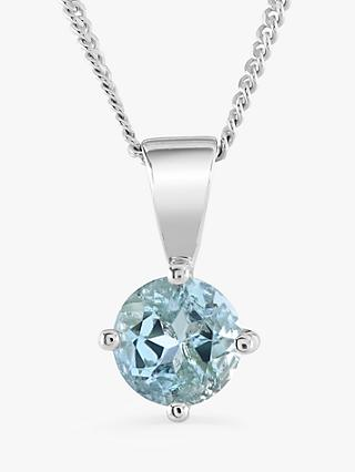 Brown & Newirth 9ct White Gold Aquamarine Round Pendant Necklace