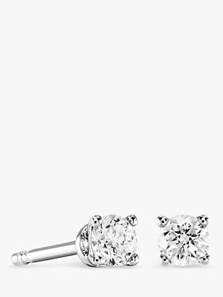 Brown & Newirth 9ct White Gold Diamond Round Stud Earrings, 0.20ct