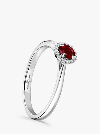 Brown & Newirth 18ct White Gold Round Ruby and Diamond Cluster Engagement Ring, 0.28ct