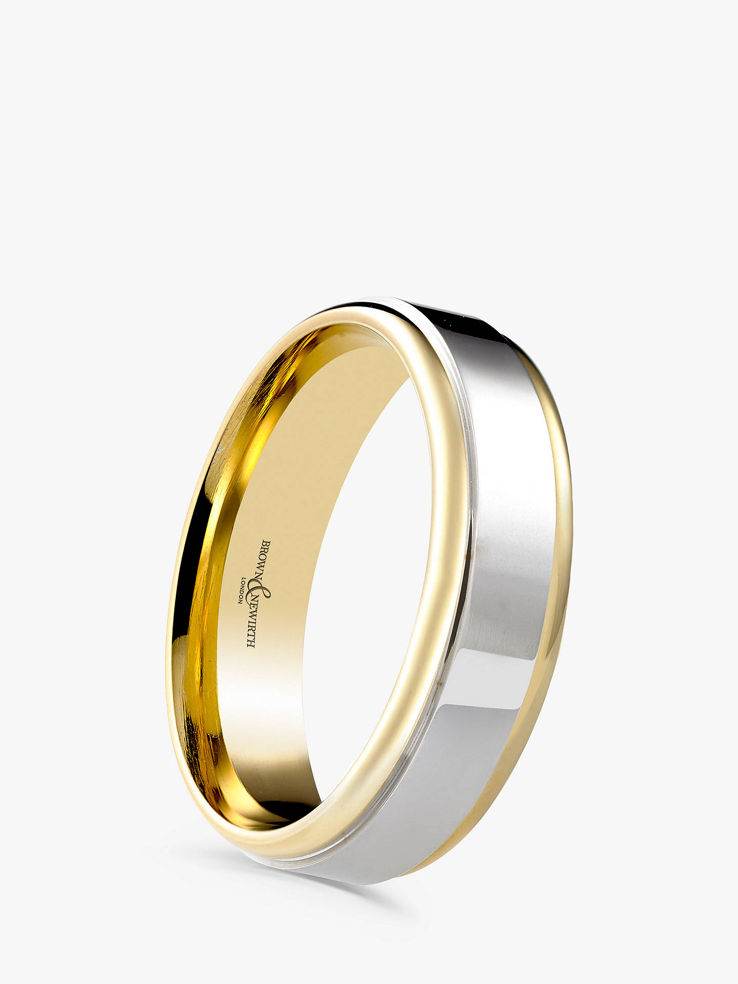 BuyBrown & Newirth Men's 9ct Yellow Gold and Palladium 6mm Polished Wedding Ring Online at johnlewis.com