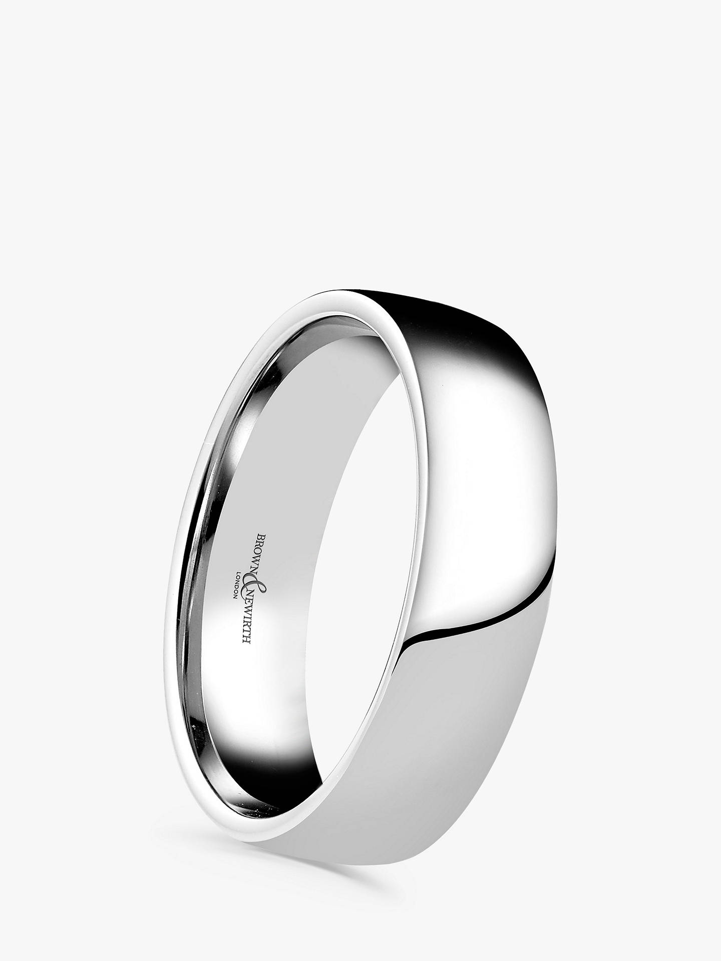 BuyBrown & Newirth Men's Platinum 6mm Domed Court Shape Wedding Ring Online at johnlewis.com