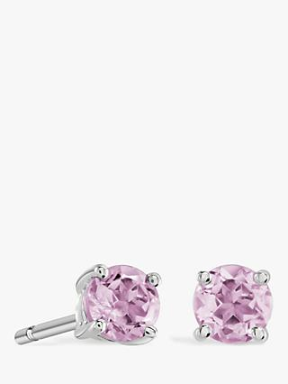 Brown & Newirth 9ct White Gold Pink Sapphire Round Stud Earrings, 0.25ct