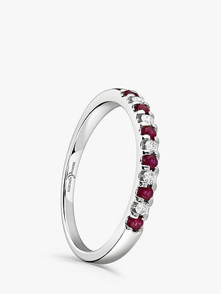 Buy Brown & Newirth 18ct White Gold Ruby and Diamond Half Eternity Ring, 0.20ct Online at johnlewis.com