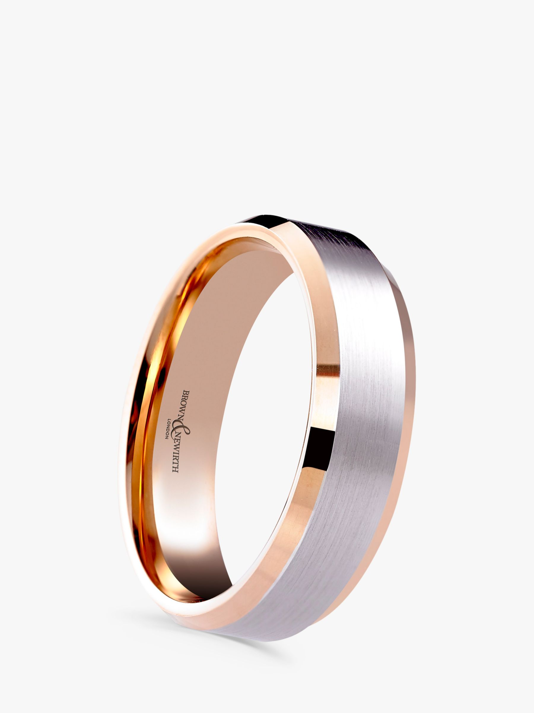 Brown Newirth Men S 9ct Rose Gold And Palladium 6mm Polished