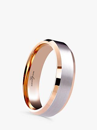 Brown & Newirth Men's 9ct Rose Gold and Palladium 6mm Polished Wedding Ring