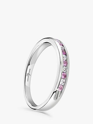 Brown & Newirth 18ct White Gold Pink Sapphire and Diamond Half Eternity Ring, 0.20ct