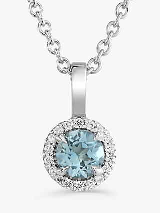 Brown & Newirth 9ct White Gold Aquamarine and Diamond Pendant Necklace, 0.07ct
