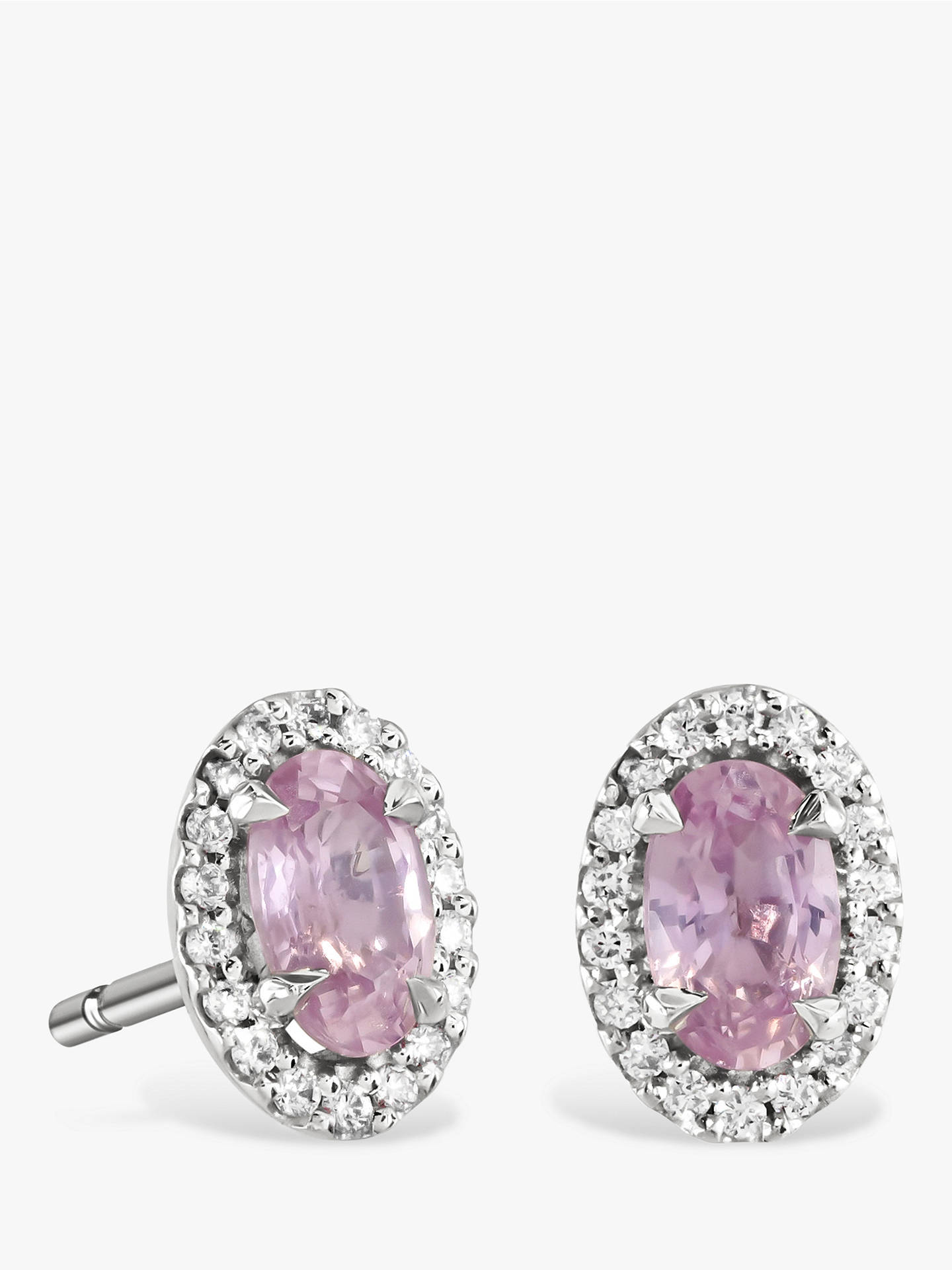 342ce0692 Buy Brown & Newirth 9ct White Gold Pink Sapphire and Diamond Oval Stud  Earrings, 0.39 ...