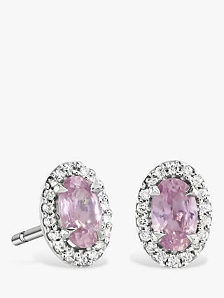 Brown & Newirth 9ct White Gold Pink Sapphire and Diamond Oval Stud Earrings, 0.39ct
