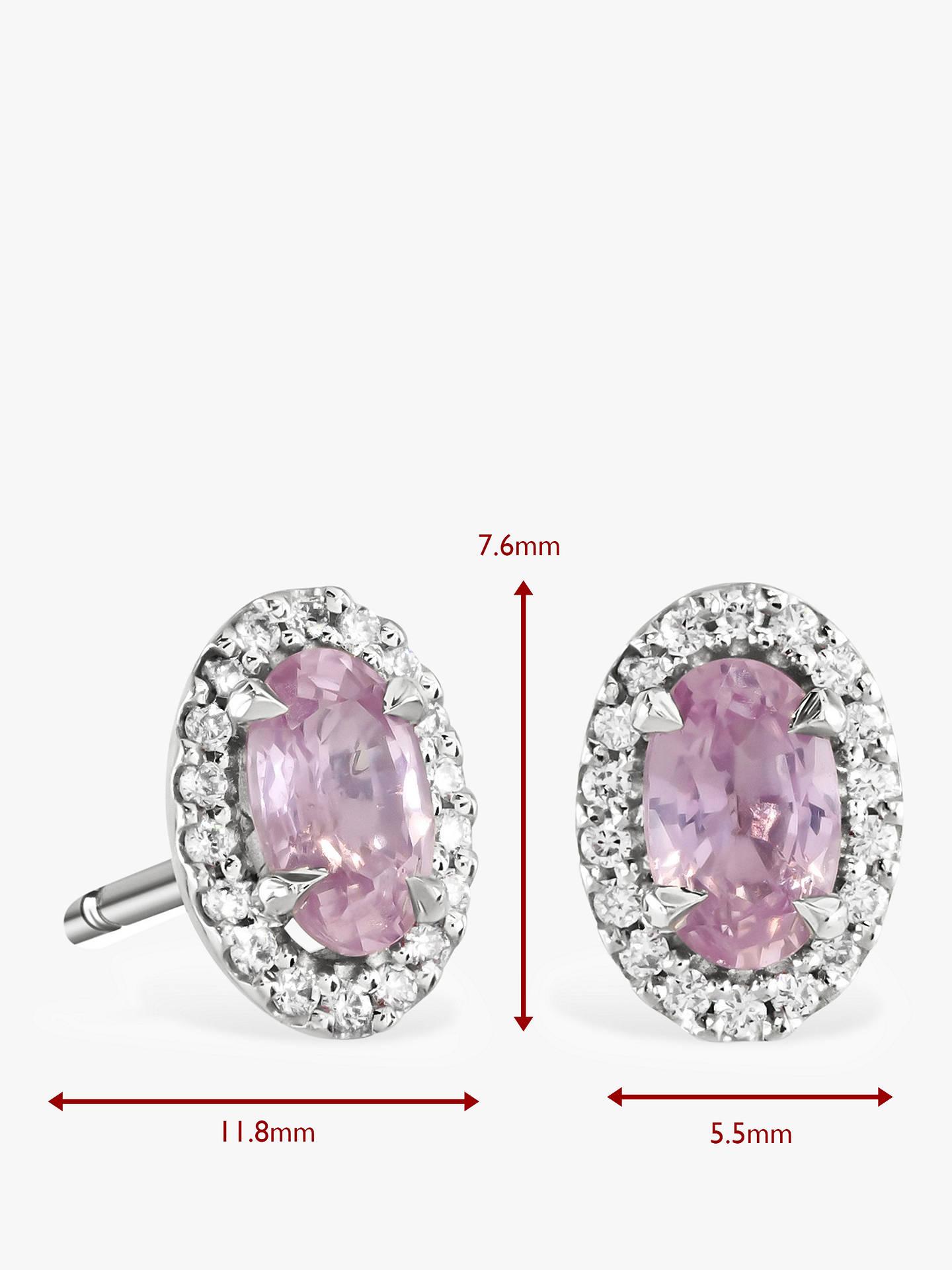 0e163638f ... Buy Brown & Newirth 9ct White Gold Pink Sapphire and Diamond Oval Stud  Earrings, 0.39 ...