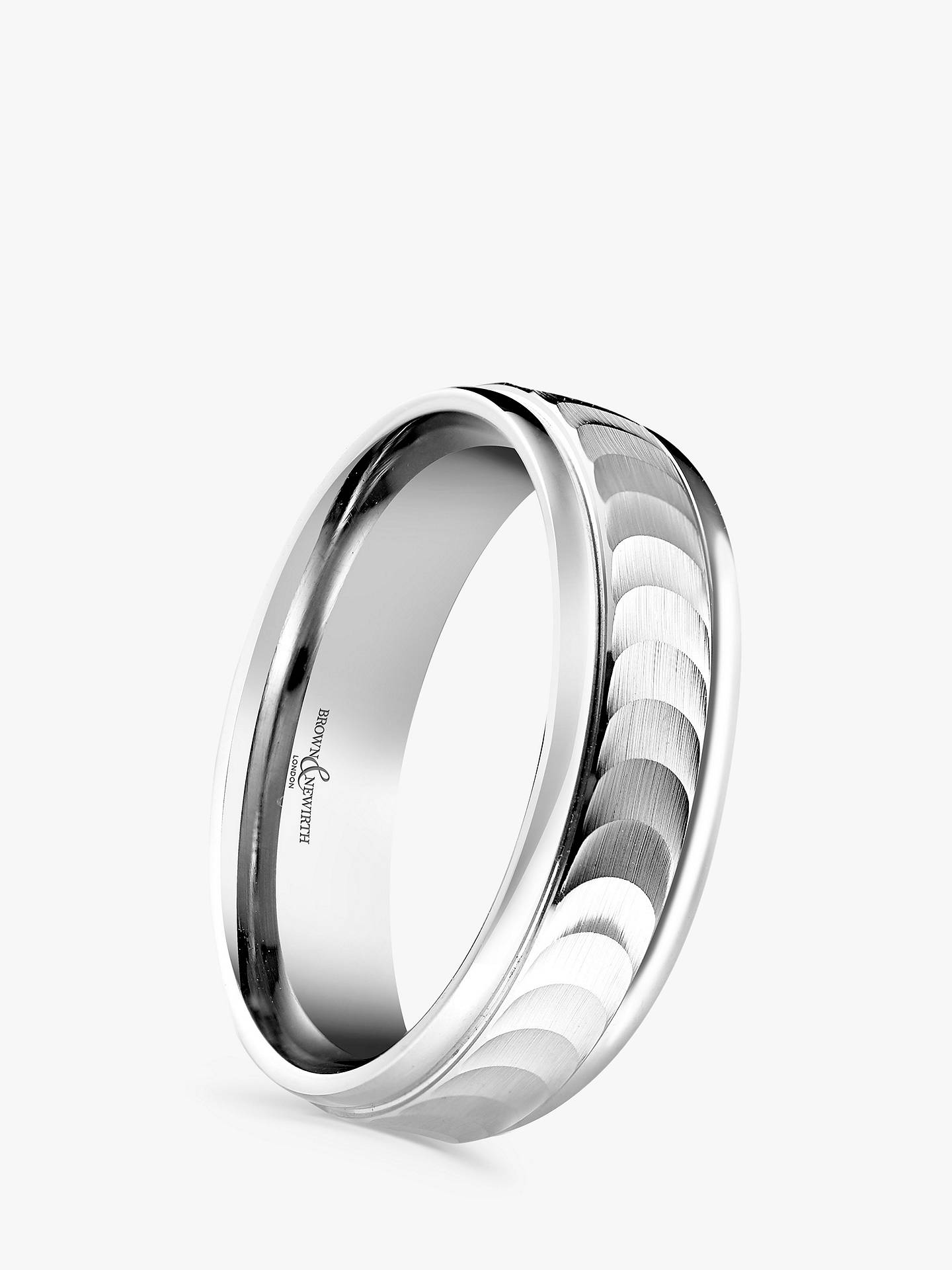 Buy Brown & Newirth Men's Palladium 6mm Patterned Flat Top Court Shape Wedding Ring Online at johnlewis.com
