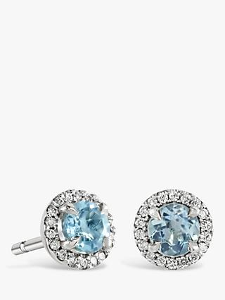 Brown & Newirth 9ct White Gold Aquamarine and Diamond Round Stud Earrings, 0.03ct