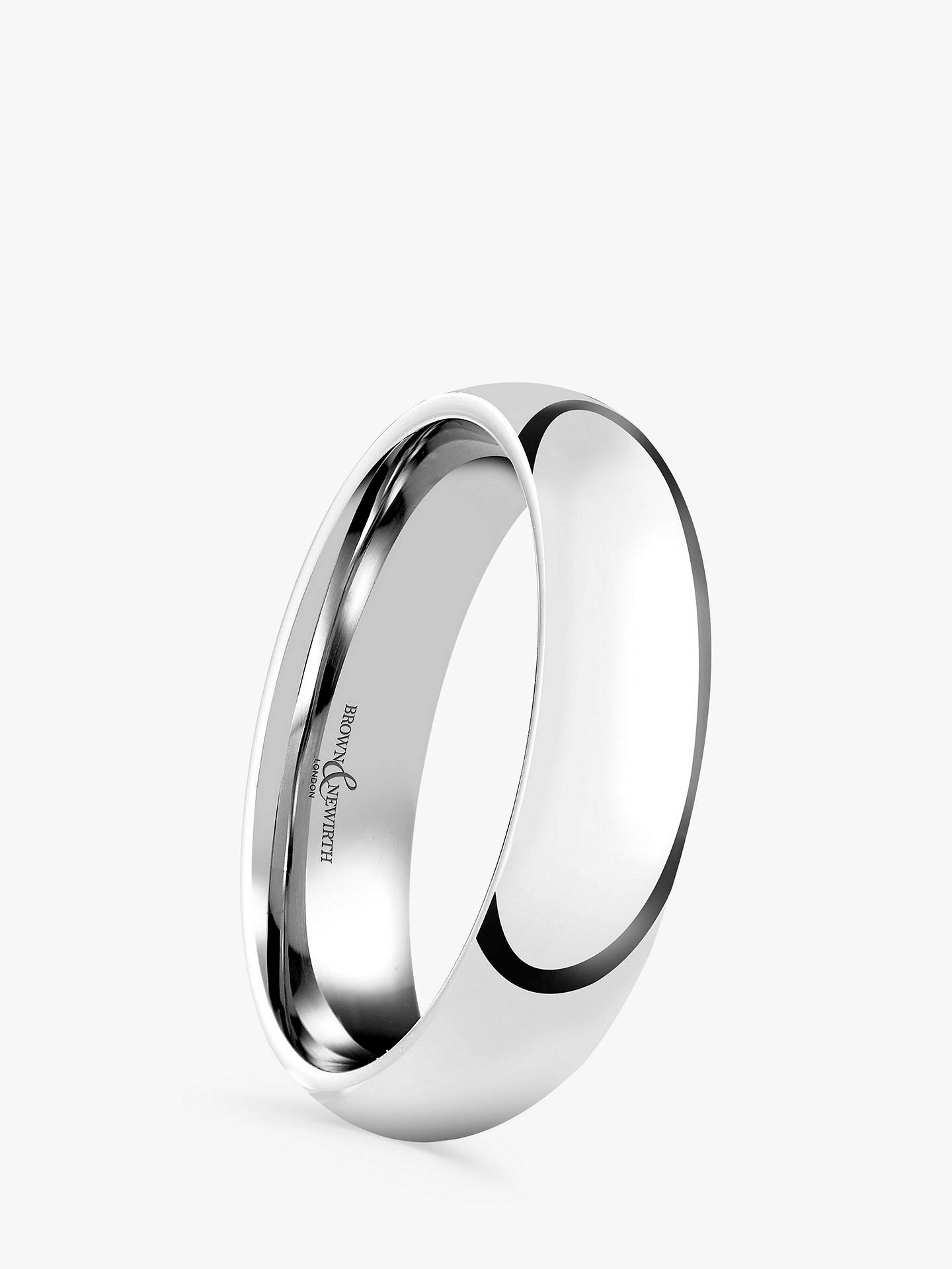 BuyBrown & Newirth Men's Platinum 5mm Court Shape Wedding Ring Online at johnlewis.com