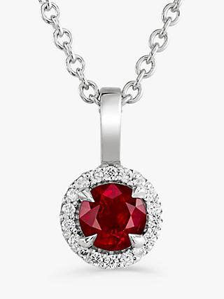 Brown & Newirth 9ct White Gold Ruby and Diamond Pendant Necklace, 0.32ct