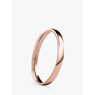 Image of Brown & Newirth Women's 9ct Rose Gold 2mm Low Dome Court Shape Wedding Ring, N