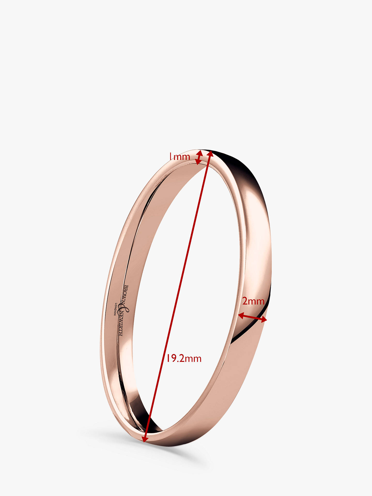 Buy Brown & Newirth Women's 9ct Rose Gold 2mm Low Dome Court Shape Wedding Ring, N Online at johnlewis.com