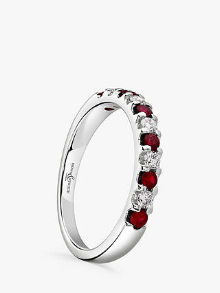 Buy Brown & Newirth 18ct White Gold Ruby and Diamond Half Eternity Ring, 0.50ct Online at johnlewis.com