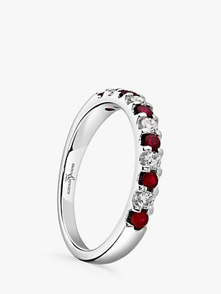 Brown & Newirth 18ct White Gold Ruby and Diamond Half Eternity Ring, 0.50ct