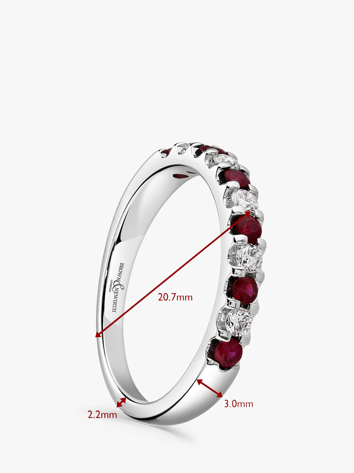BuyBrown & Newirth 18ct White Gold Ruby and Diamond Half Eternity Ring, 0.50ct Online at johnlewis.com