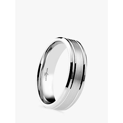Image of Brown & Newirth Men's Palladium 6mm Brushed and Polished Court Shape Wedding Ring