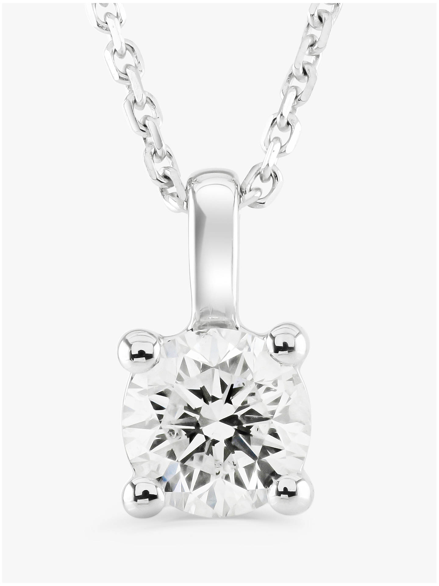 640b57d8fdd98c Buy Brown & Newirth 9ct White Gold Diamond Round Pendant Necklace, 0.30ct  Online at ...