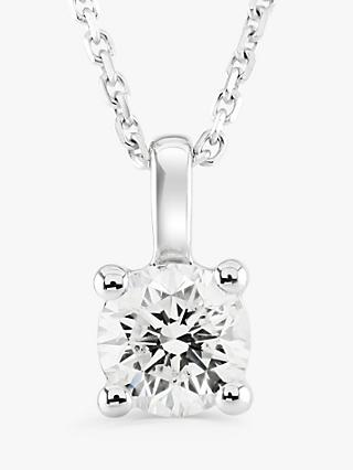 Brown & Newirth 9ct White Gold Diamond Round Pendant Necklace, 0.30ct
