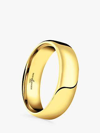 Brown & Newirth Men's 18ct Gold 6mm Softened Court Shape Wedding Ring, S