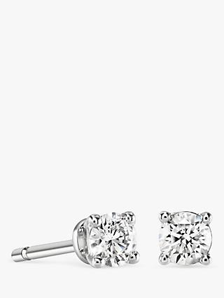Brown & Newirth 18ct White Gold Diamond Round Stud Earrings, 0.40ct