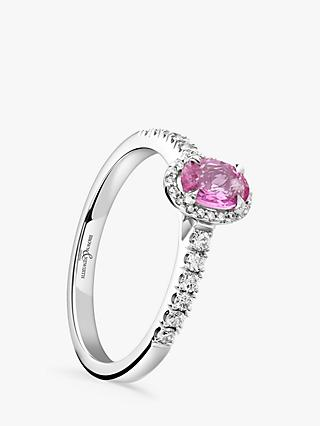 Brown & Newirth 18ct White Gold Oval Pink Sapphire and Diamond Shoulder Engagement Ring, 0.72ct