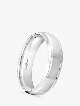 Buy Brown & Newirth Men's Palladium 6mm Patterned Court Shape Wedding Ring Online at johnlewis.com