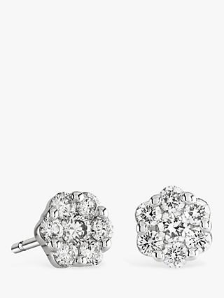 Brown & Newirth 18ct White Gold Diamond Flower Stud Earrings, 0.50ct